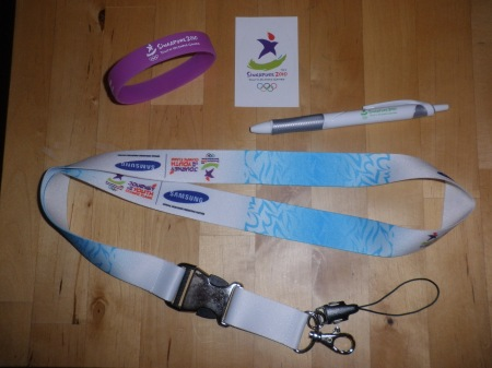 wristband, sticker, pen, lanyard